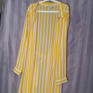 Forever21  yellow ^ white striped cardigan/ duster